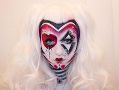 """Colorful and creative fantasy make-up with crystal and pearl accents titled """"the Rotten Zombie Fairy""""  by Anastasija Potjomkina."""