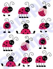 48 LADYBUG WALL DECALS BABY GIRLS NURSERY KIDS CHILDRENS ROOM STICKERS DECOR