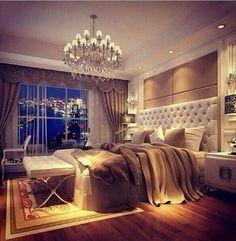 Romantic bedroom~~~Love the chandelier........