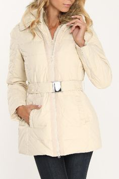 Champagne Belted Zip Front Coat