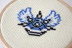 Framed Mario Kart Cross Stitch in Hoop Blue by PiDesignPrints