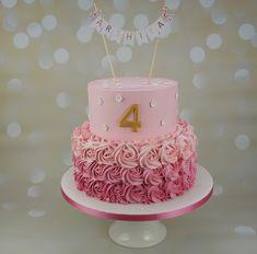 Tiered pink buttercream cake with handmade banner Buttercream Cake, Unicorn Party, Fondant, Deserts, Birthday Cake, Baby Shower, Baking, Pink, Handmade
