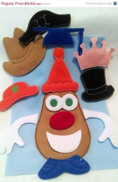 Christmas in July Sale Mr or Mrs potato head addon package of hats for out Potato head felt game set educational game learning toy Eco-Frien on Etsy, $7.60