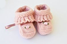 Handknit Booties Pink Frilly Girl by IsabelleKnits on Etsy, $16.00
