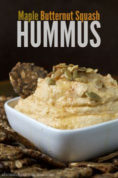 Maple Butternut Squash Hummus   (Plus Mary's Gone Crackers prize package giveaway!) #MomBlogTourFF ad