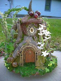 Petite OOAK Driftwood FAIRY gnome elf dollhouse HOUSE by J. McLaughlin