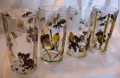 Vintage 50s Hazel Atlas Bees & Bears Tumblers