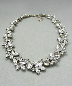 Clear Rhinestone Crystal Wreath Choker Necklace @ Shop Lately $16