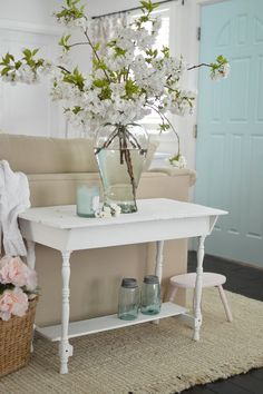 I love sharing my eclectic cottage-farmhouse decorating ideas with you, like this fun aqua painted interior door. Such a fast, fun way to add some whimsical style to your home, without doing anything too drastic or permanent! Did you know you can a paint a door in about 30 minutes? I change mine often and enjoy the different vibes the color changes offer for so little money.