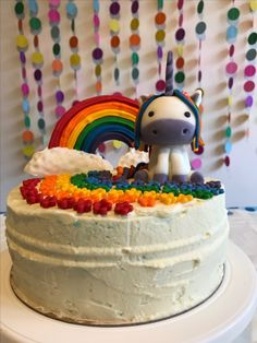 Eva is 6! So mami, I wish I could have a Rainbow Unicorn Cake for my Tea Party. I love unicorns, They are magical for real life.