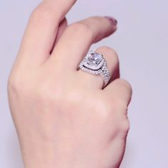 Forever Brilliance Test Positive 1 Carat CT Cushion Cut Halo  Engagement Wedding Ring set  Lab Grown Diamond