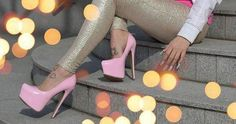 Tattoos and Hot pink high heels. <3 So Cute.