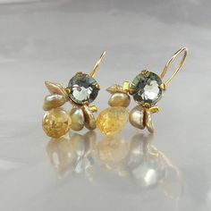 Citrine Earrings Citrine jewelry Mother Daughter by yifatbareket