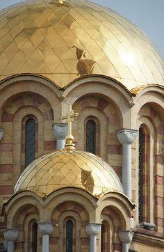 "Orthadox cathedral Banja Luka, Herzegovina - by Marc Neal ns: it's ""Ortodox"" and it's in Banja Luka, Bosnia Amazing Buildings, Amazing Architecture, Architecture Details, Montenegro, Republika Srpska, Banja Luka, Temple, Istanbul, Religious Architecture"