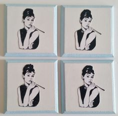 Brighten up your dining/living are with these timeless coasters. A decorative and functional set of handmade coasters featuring Audrey Hepburn. MDF base white background, blue edges, finished with a high gloss varnish.   10cm square. Set of 4.
