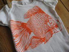 Screen Printed American Apparel Gold fish Onesie