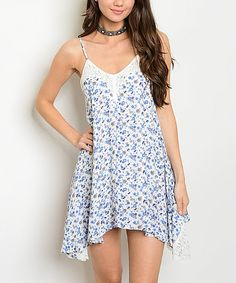 Take a look at this White & Blue Floral Lace-Accent Sidetail Dress today!