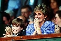 July 6, 1991: Princess Diana with Prince William stands in the Royal Box on Centre Court at Wimbledon. Steffi Graf wins the Women's Singles Championship.