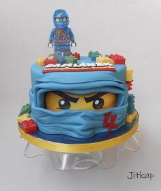 Lego Ninjago by Jitkap Bolo Ninjago, Bolo Lego, Lego Ninjago Cake, Ninjago Party, Lego Cake, Ninja Birthday Cake, Salty Cake, Cakes For Boys, Savoury Cake
