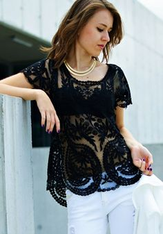 Black Patchwork Embroidery Wavy Edge Grenadine Vintage T-Shirt - T-Shirts - Tops
