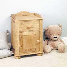The dimension of this Emily Solid Oak Bedside Cabinet (one door one drawer) are as follows - the height is 70, the width is 45 the depth is 35 and the volume of this Emily Solid Oak Bedside Cabinet (one door one drawer) is 0.11.  The International Article Number or EAN number is 0762022599718 and the weight is 18.00kg.  http://www.bonsoni.com/emily-solid-oak-bedside-cabinet-one-door-one-drawer