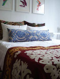 Sukan / SALE, Decorative Pillow,Throw Pillow Cover, Handmade Long Silk Velvet Ikat Bedroom Pillow Cover - 14x40 inch - Beige, Blue Color. $169.95, via Etsy.