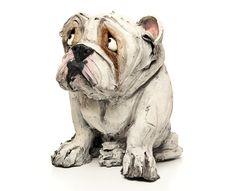 Bulldog ceramic dog sculpture