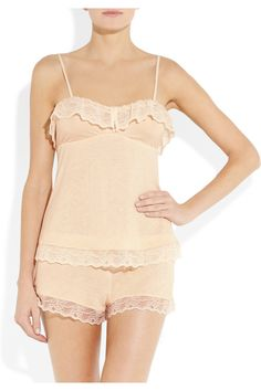 Eberjey|Fanny lace-trimmed jersey camisoleand shorts