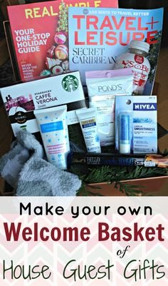 Make your own Welcome Basket of House Guest Gifts when welcoming visitors into your home | StuffedSuitcase.com Christmas hospitality tip
