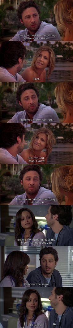 Because Scrubs is the best show ever Tv Quotes, Funny Quotes, Movie Quotes, Turk And Jd, Scrubs Tv Shows, Funny Romance, Collateral Beauty, Movies And Series, Himym