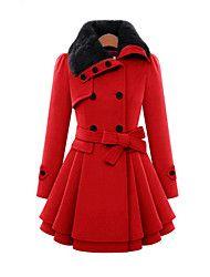 Women's Solid Red / Beige Coat , Vintage Long Sle... – USD $ 37.99