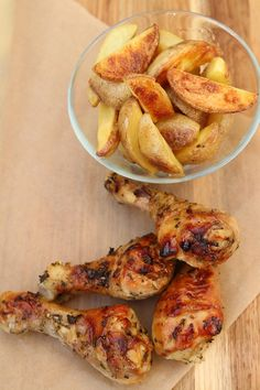 Grilled Garlic and Herb marinated chicken legs