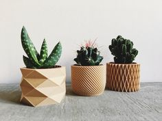 Set of 3 Pots / Planters Design Hygge printed in Wood perfect for succulents or cacti ! by MinimumDesign on Etsy https://www.etsy.com/uk/listing/493061304/set-of-3-pots-planters-design-hygge