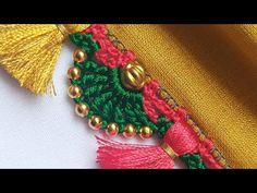 Saree kuchu / Simple Saree Tassel with beads design tutorial for beginners / Siri creations Saree Kuchu New Designs, Saree Tassels Designs, Blouse Neck Designs, Smocking Tutorial, Crochet Flower Tutorial, Crochet Flowers, Crochet Stitches Patterns, Crochet Designs, Stitch Patterns