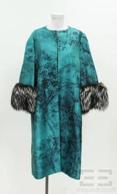 Valentino Turquoise & Black Print Silk & Wool Fox Fur Cuffs $2130.99 Jacket ending soon on shopedropoff.com!