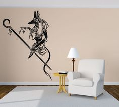 Wall Vinyl Sticker Decals Mural Room Design Pattern Art Bedroom Egypt God Anubis Ra King Ancient Culture bo2593 by…