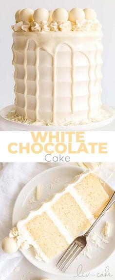This White Chocolate Cake is both decadent and delicious. White chocolate is inc… This white chocolate cake is both decadent and delicious. White chocolate is incorporated into the cake layers, frosting and drip to create a stunning monochrome effect. Cake Chocolate, Layered Chocolate Cakes, White Chocolate Wedding Cake Recipe, Chocolate Drip Cake Birthday, Birthday Drip Cake, White Chocolate Cupcakes, White Birthday Cakes, White Chocolate Recipes, Layer Cakes
