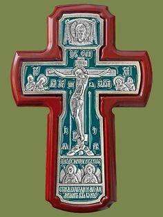 «Крест с Архангелами», серебрение, эмаль, ясень, высота 215 мм. Артикул 17141-1.