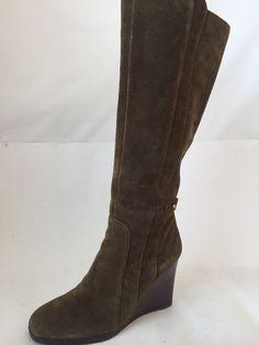 FRANCO SARTO Womens CORIANE Mushroom Green Leather Suede Wedge Boots Size 8.5 M #FrancoSarto #KneeHighBoots