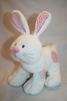 """Calico Cuite Bunny Rabbit Easter Rattle Plush White Pink HE9773 Ganz 10"""" Stuffed"""