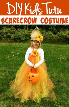 Easy and Fun DIY Kids Tutu Scarecrow Costume. Super easy to may for girl of any age!