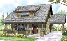 Bungalow house plans take Craftsman style and make it small and manageable. These house design plans typically have one and a half stories and a porch. Craftsman Bungalow House Plans, Craftsman Door, Bungalow Homes, Cottage House Plans, Craftsman Bungalows, Cottage Homes, House Floor Plans, Craftsman Exterior, Bungalow Ideas