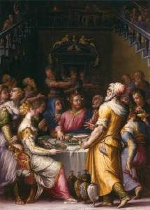 VASARI, Giorgio (b. 1511, Arezzo, d. 1574, Firenze) 1566 Oil on panel, 40 x 28 cm Szйpmыvйszeti Mъzeum, Budapest This painting is a smaller variant of a painting executed for the refectory of the San Pietro Benedictine monastery in Perugia. This variant is either a modello which preceded the large picture, or made afterward perhaps as a present for the mediator in the Perugia commission.