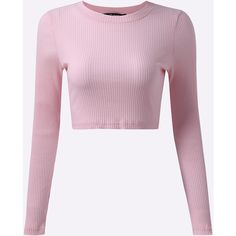 Yoins Sexy Plain Color Crop Long Sleeve T-shirt ($23) ❤ liked on Polyvore featuring tops, t-shirts, pink, white long sleeve t shirt, white crop top, pink long sleeve tee, pink crop top and crop tee