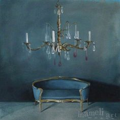 Still life Painting, Canvas, The blue room, Original acrylic painting, crystal chandelier, antique furniture interior art, 16x16 inch