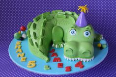 Crocodile cake. Choc mud cake from head to tail, covered with fondant.