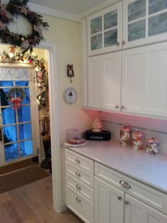 .My kitchen ..The opal stained glass in the upper cabinets.