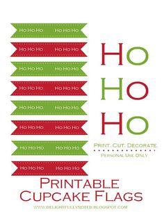 printable Christmas cupcake flags