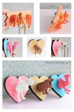 For little girls room DIY: Turn cheap plastic animals into super cute crafts! Learn how to make a magnetic necklace holder, ring holder, place card holdr, magnetic photo holder and fridge magnets. I just like it for the hippo and the moose Kids Crafts, Cute Crafts, Diy And Crafts, Craft Projects, Projects To Try, Arts And Crafts, Moose Crafts, Craft Tutorials, Beach Crafts