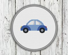 Cute Little Blue Car Counted Cross Stitch by CrossStitchShop Cross Stitch Hoop, Cross Stitch Boards, Cross Stitch Needles, Counted Cross Stitch Patterns, Dmc Embroidery Floss, Cross Stitching, Crochet Patterns, Etsy, Diy Car